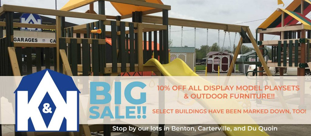 Limited Time Only: Get 10% off all display model playsets & outdoor furniture! Select buildings have been marked down, too!